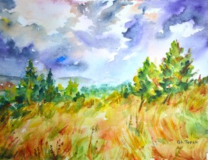 Ticknock Park Dublin Watercolor Painting 24x32 cm