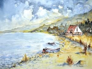 Ireland, Connemara, Clifden, Watercolor Painting