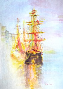 Famine Ship, Dublin Acrylic on Watercolor Paper